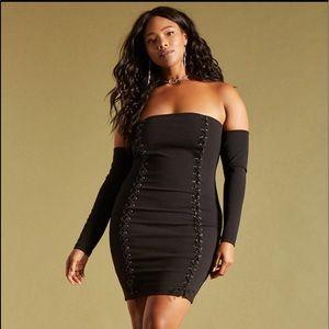Forever 21+ | lace up off shoulder mini dress 1X